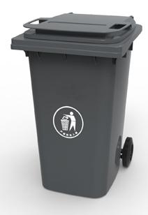 Бак для сміття пластиковий 360 л. темно-сірий. 360А-2DG
