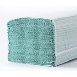 Бумажные полотенца листовые,  V-укладка, макулатурные, зеленые M102.