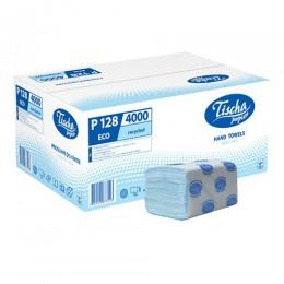 Бумажные полотенца листовые, V-укладка, макулатурные, синие. р128.